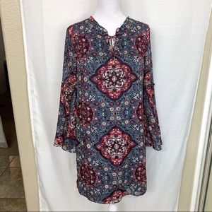WHBM BOHO Peasant Bell Sleeve Tunic Dress S